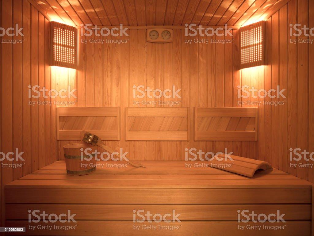 Interior Of The Sauna stock photo