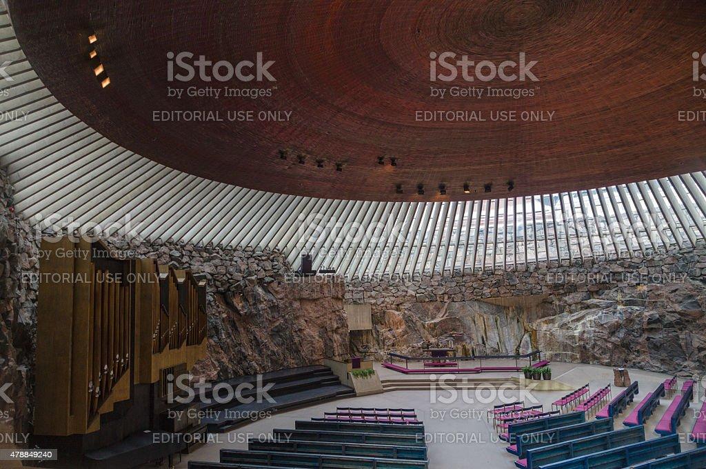 Interior of the Temppeliaukio Church in Helsinki, Finland stock photo