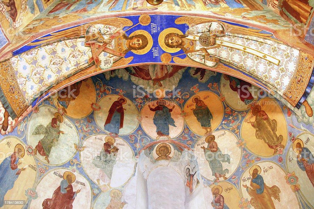 Interior of the Transfiguration Church in Suzdal, Russia stock photo