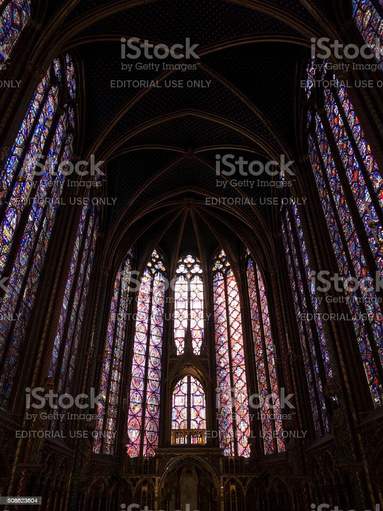 Interior of the Upper Chapel, Sainte Chapelle stock photo