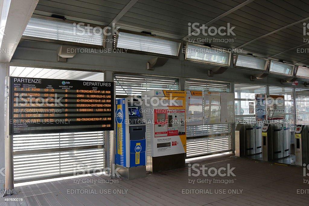 Interior of the waterbus stop San Zaccaria (Pieta) in Venice stock photo