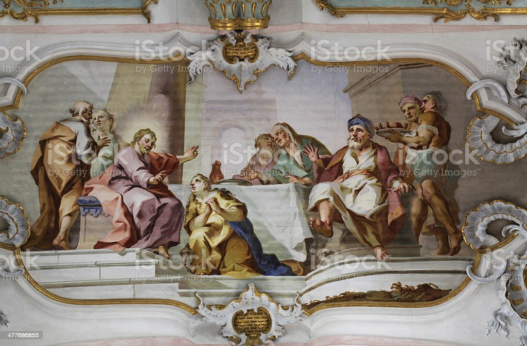 Interior of the Wies Church, Germany stock photo