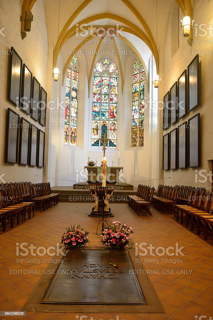 Interior of Thomaskirche in Leipzig stock photo