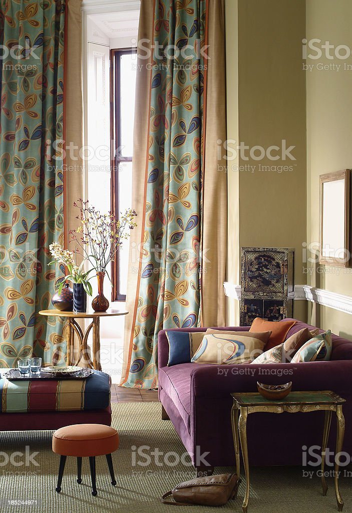 Interior of three seater sofa in a living room stock photo
