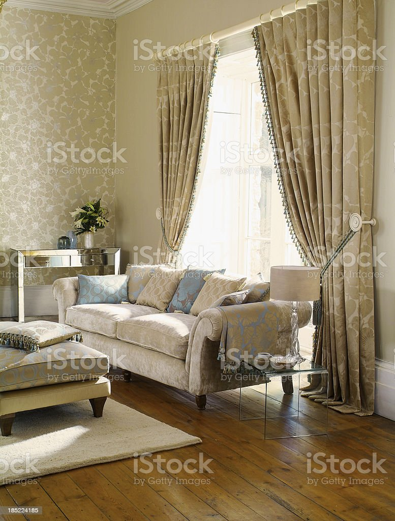 Interior of three seater sofa in formal living room stock photo