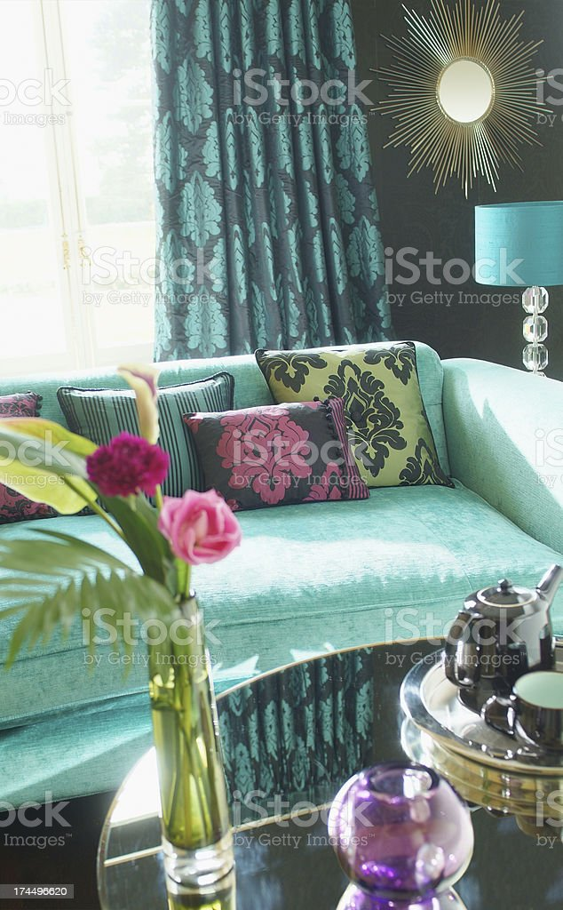 Interior of three seater sofa in living room royalty-free stock photo
