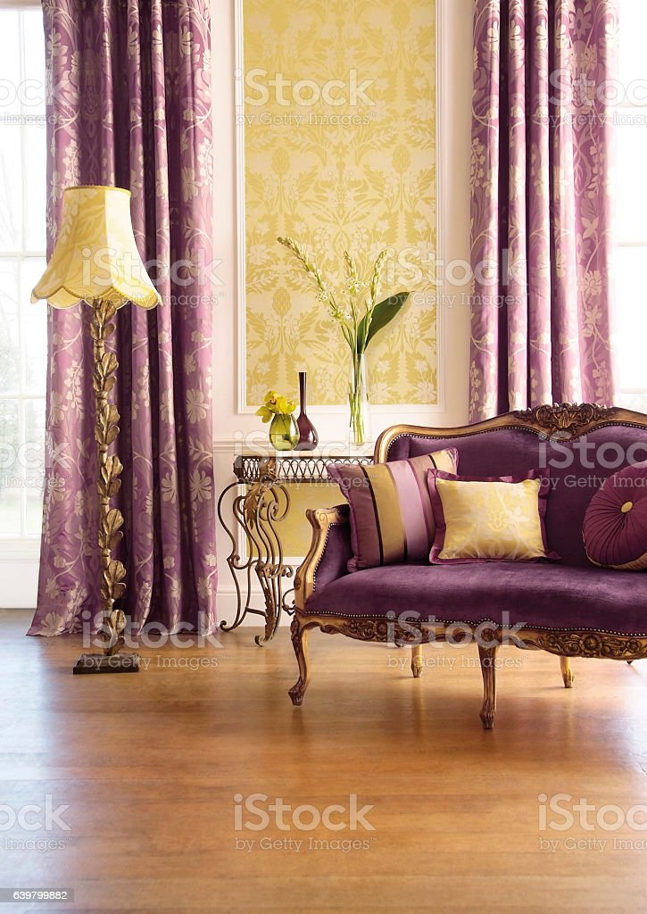 Interior of traditional sofa in grand living room stock photo