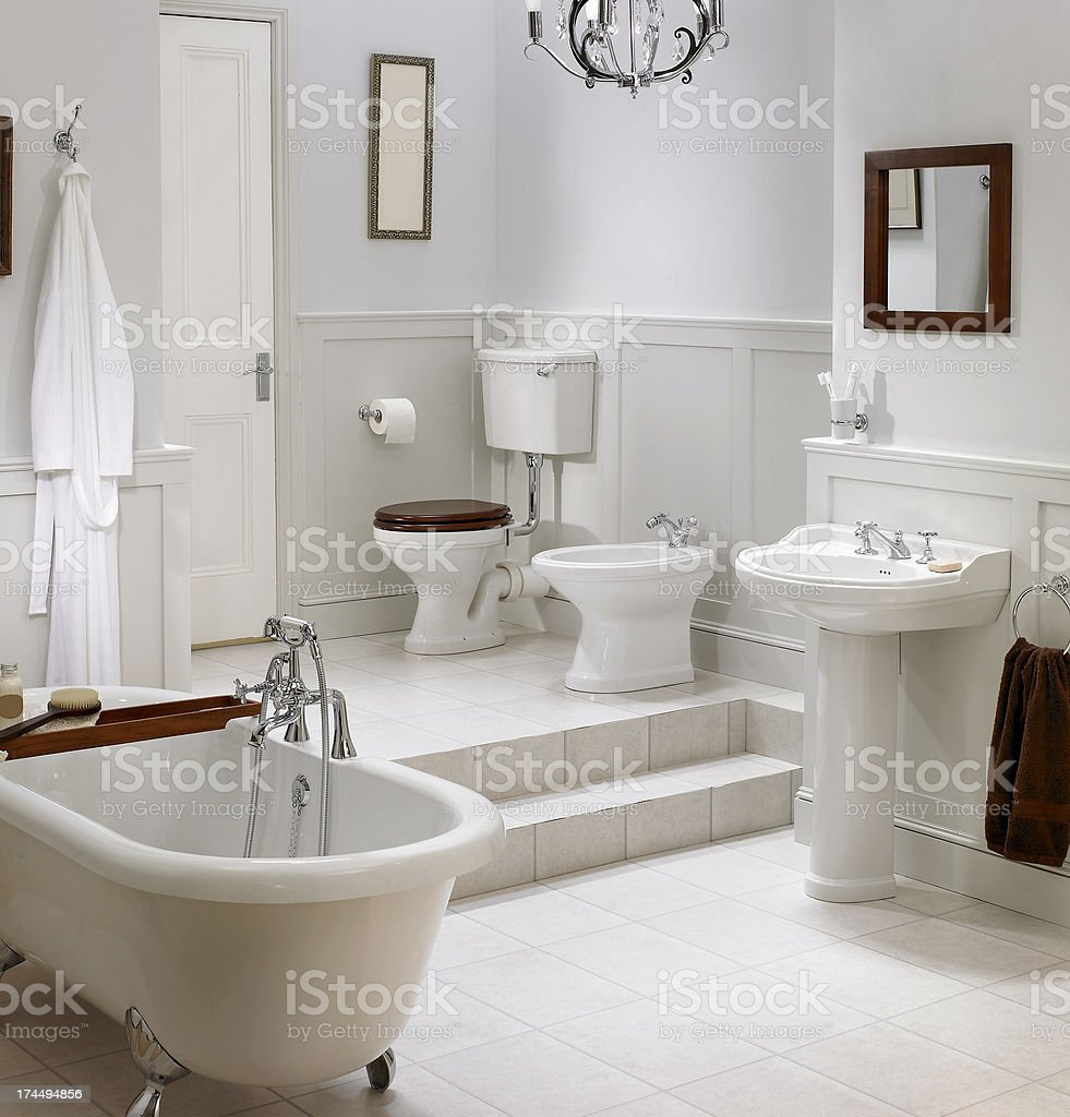 Interior of traditional white bathroom stock photo