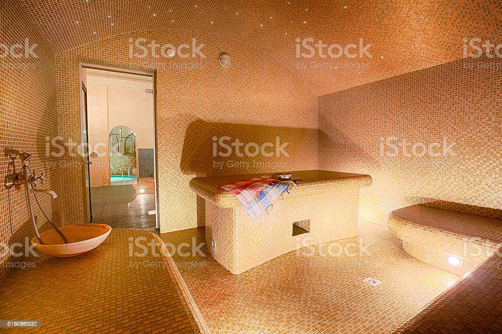 Interior of Turkish sauna, hammam at spa center stock photo