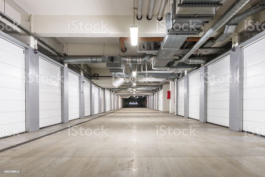 Interior of underground parking garage in Europe stock photo