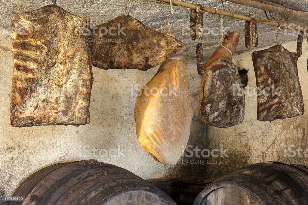 Interior of very old wine cellar stock photo