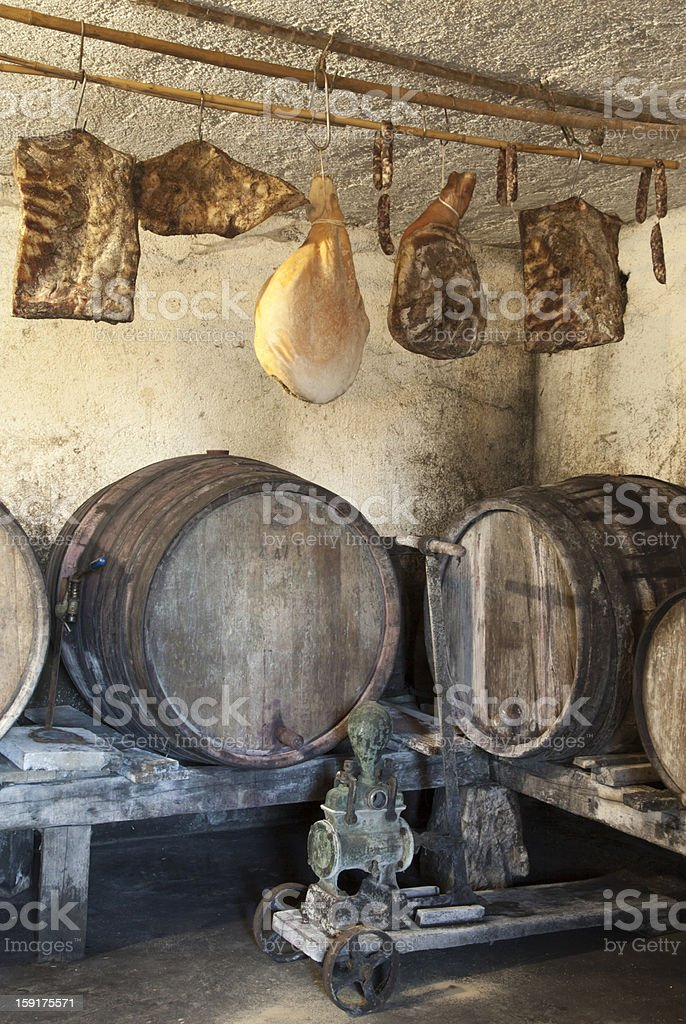 Interior of very old wine cellar royalty-free stock photo