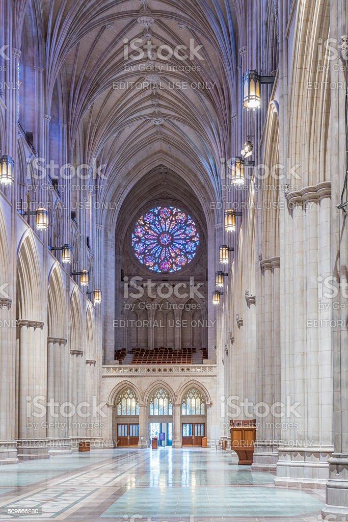 Interior of Washington National Cathedral nave, facing rear. royalty-free stock photo