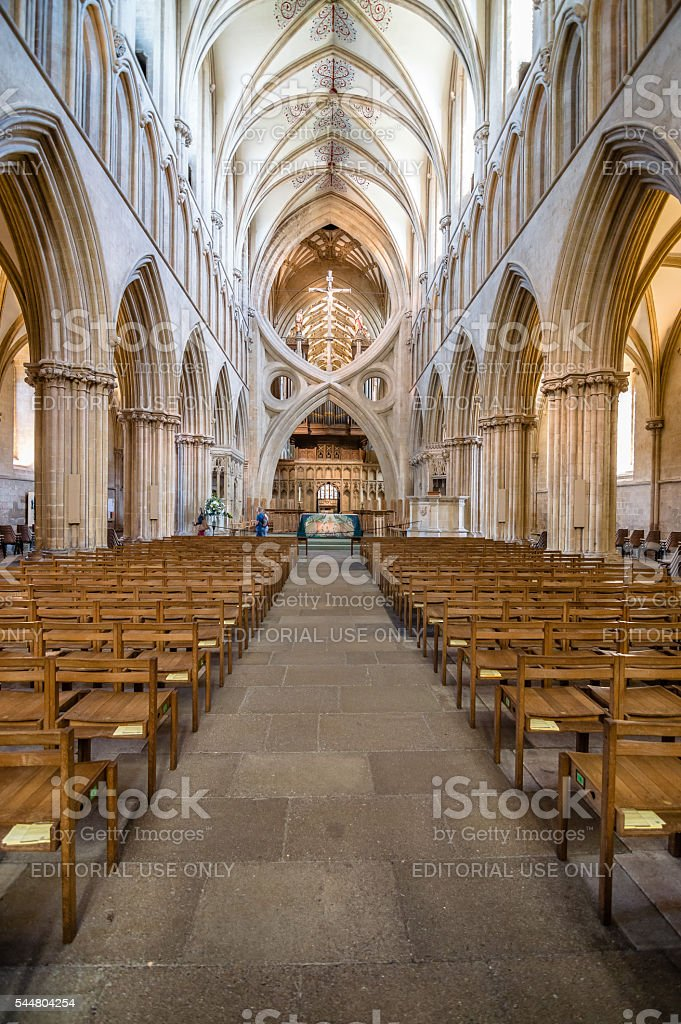 Interior of Wells Cathedral stock photo