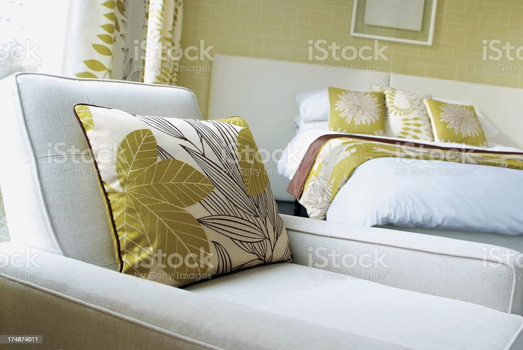 Interior of white and green bedroom royalty-free stock photo