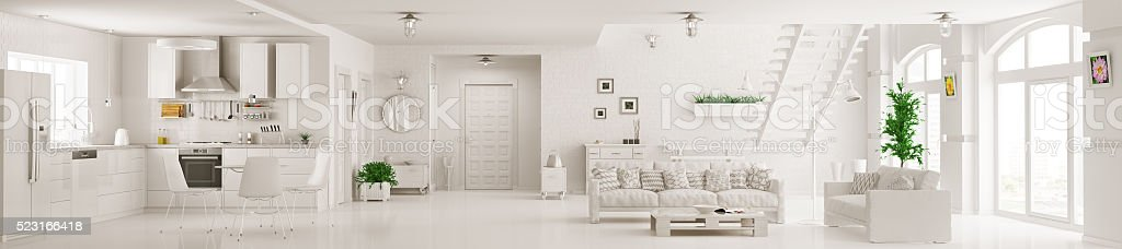 Interior of white apartment panorama 3d rendering stock photo