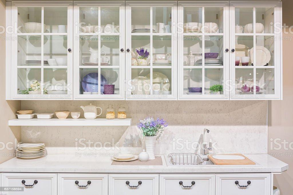 Interior of white domestic kitchen stock photo