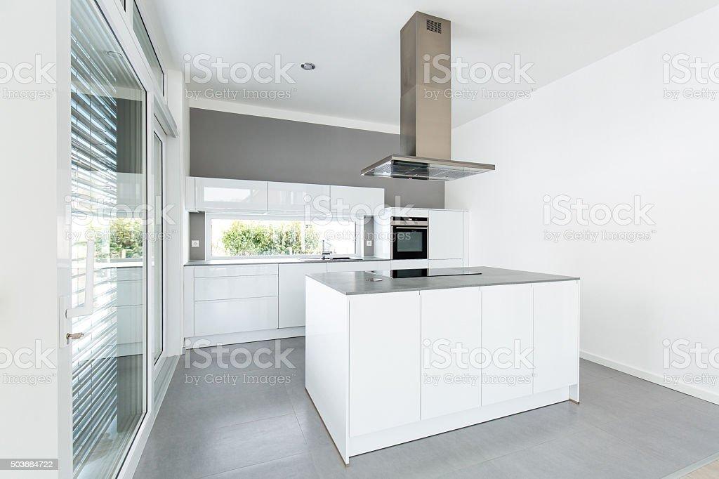 Interior of white kitchen stock photo