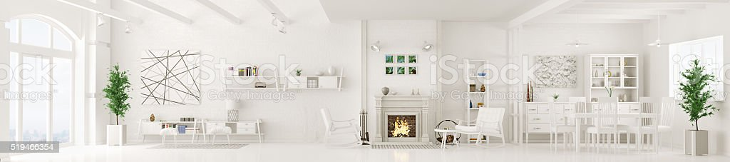 Interior of white living room panorama 3d rendering stock photo