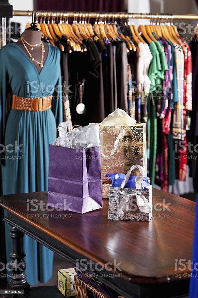 Interior of women's clothing store stock photo