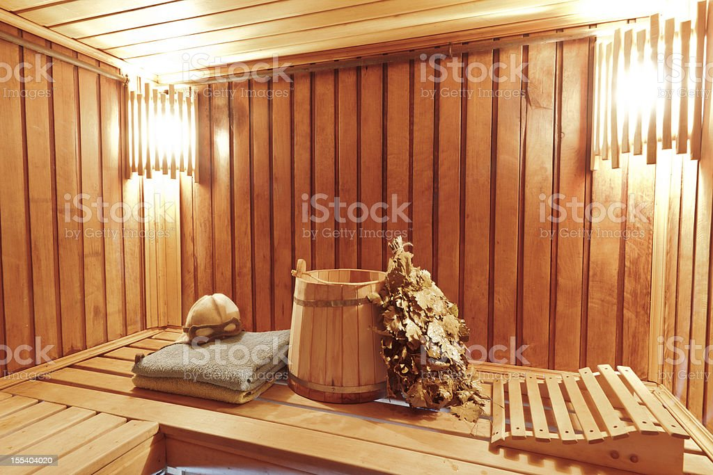 Interior of wooden russian sauna stock photo