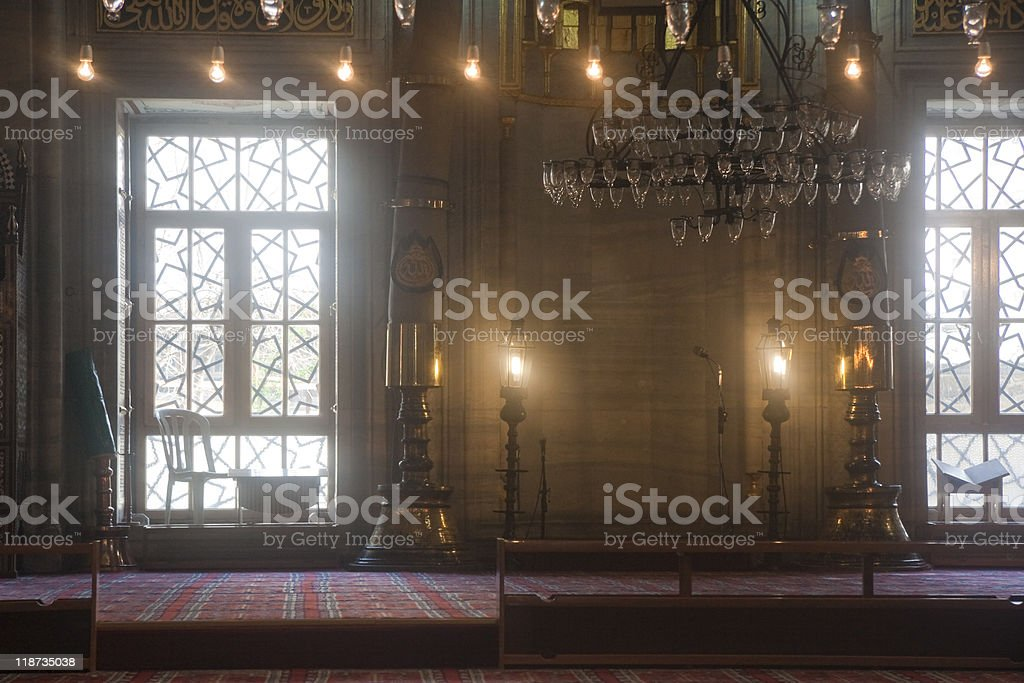 Interior of Yeni Cami Mosque in Istanbul royalty-free stock photo