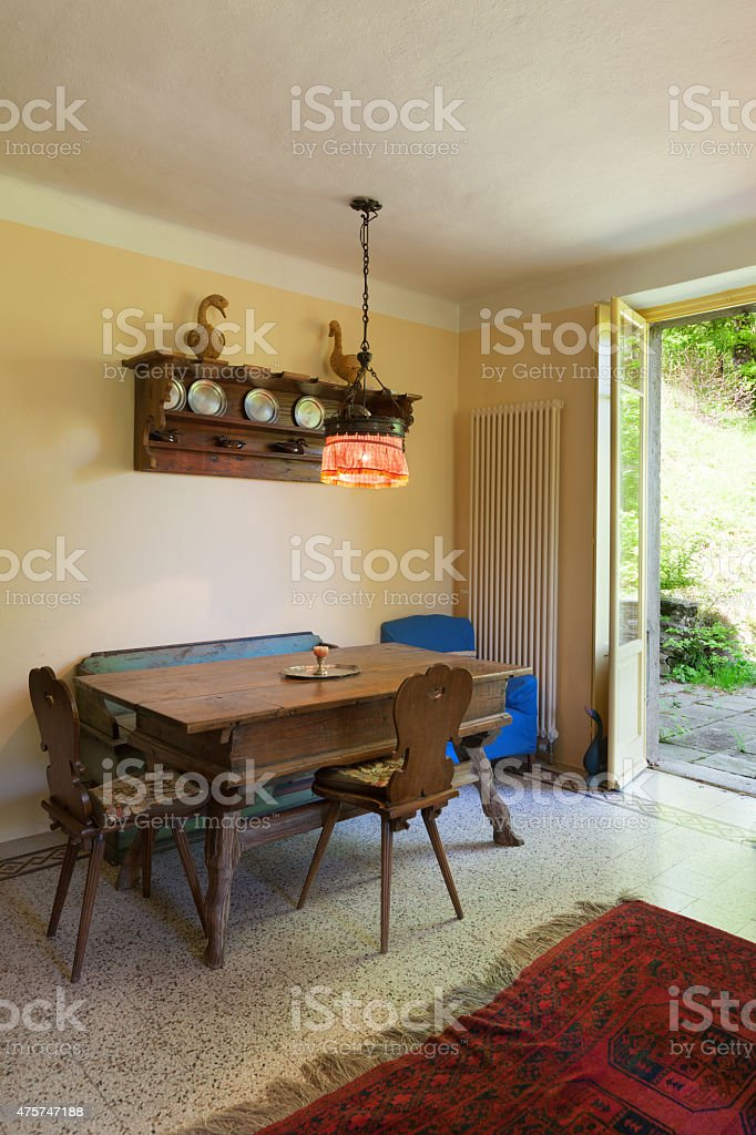 Interior, old wooden dining table stock photo