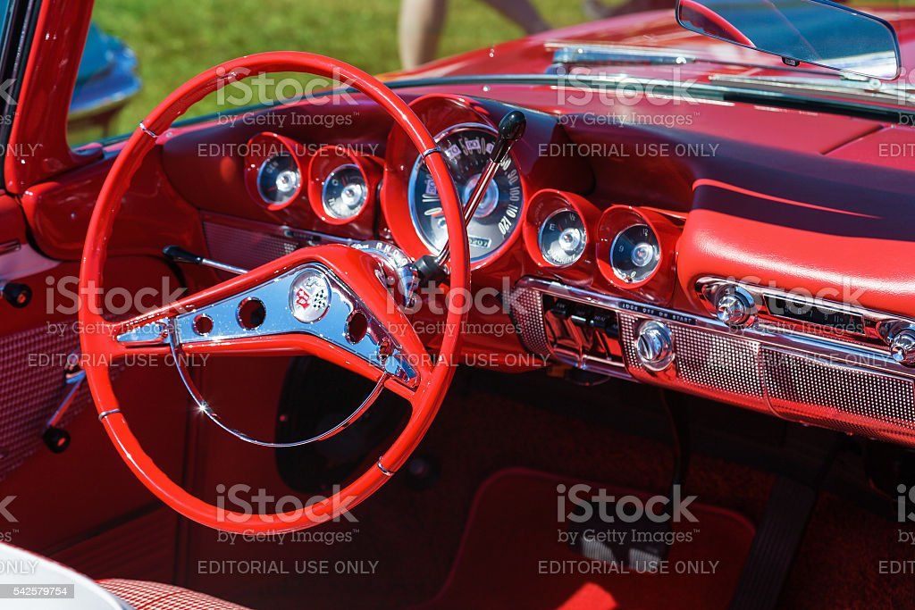 Interior on an old classic convertible stock photo