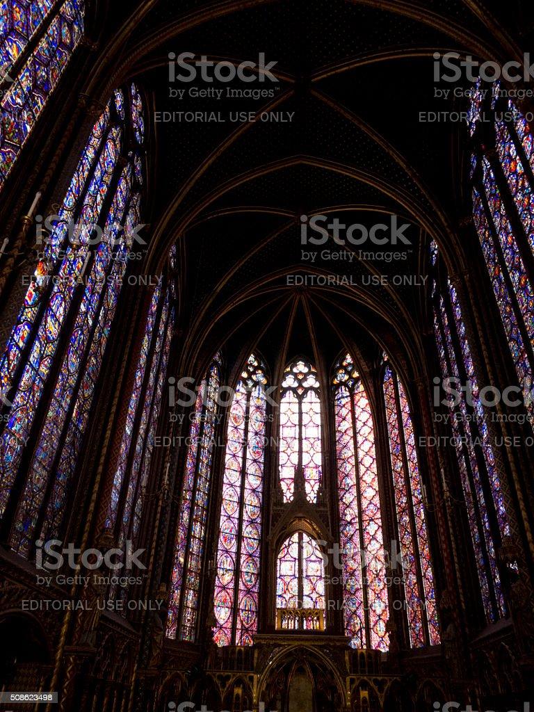 Interior on the Upper Chapel, Sainte Chapelle, Paris stock photo