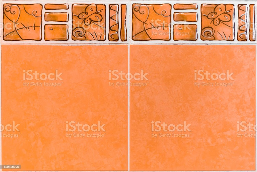 Interior or kitchen bathroom wall ceramic tiles decorative liner stock photo