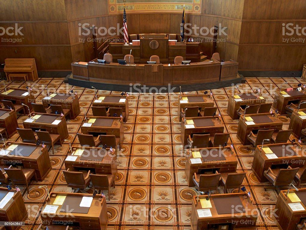 Interior Oregon Senate at State Capitol Leadership Area Desks stock photo