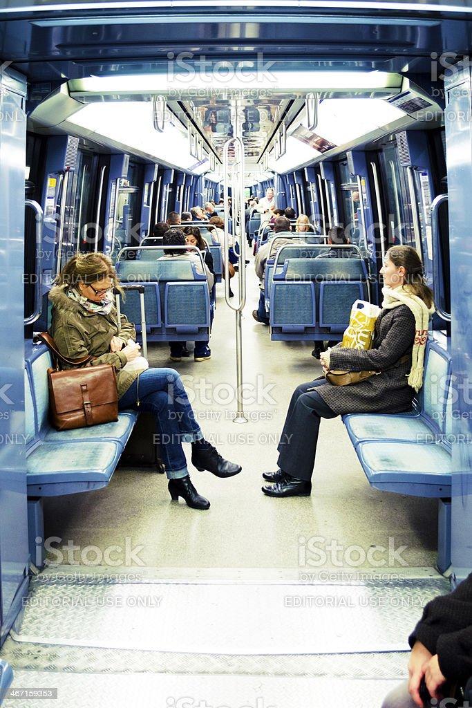 Interior Paris Metro Train, France. stock photo