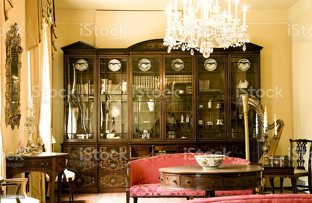 Interior parlor room of a victorian mansion. stock photo