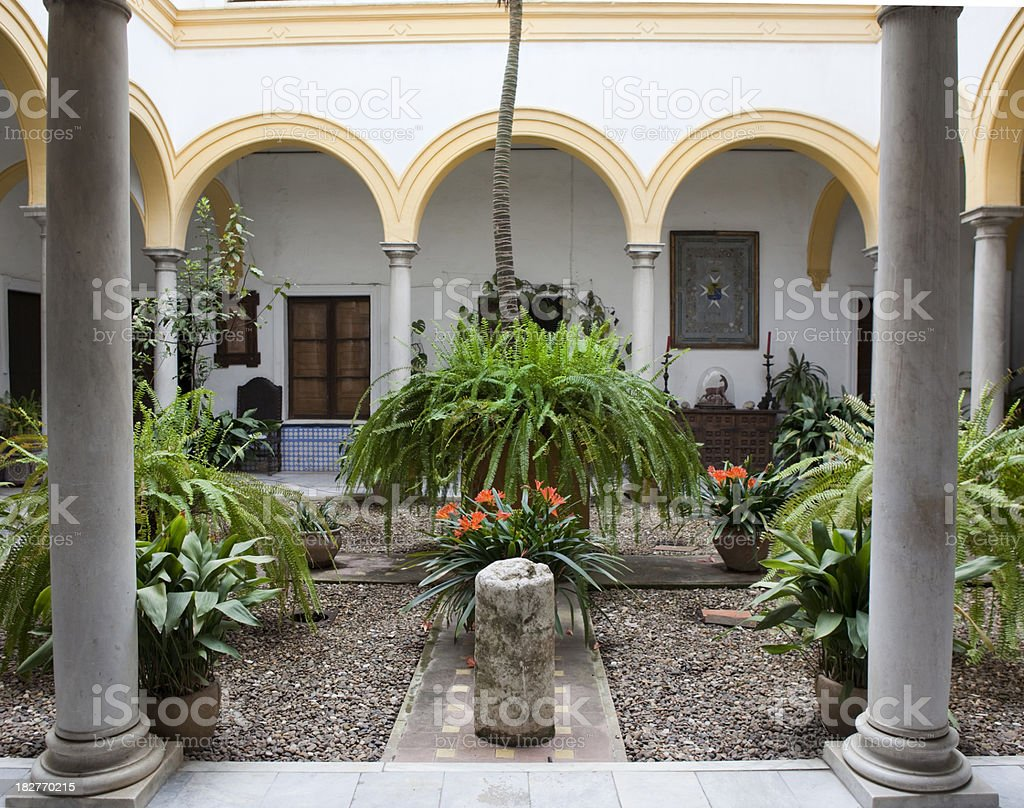 Interior Patio of Home in Seville Spain royalty-free stock photo