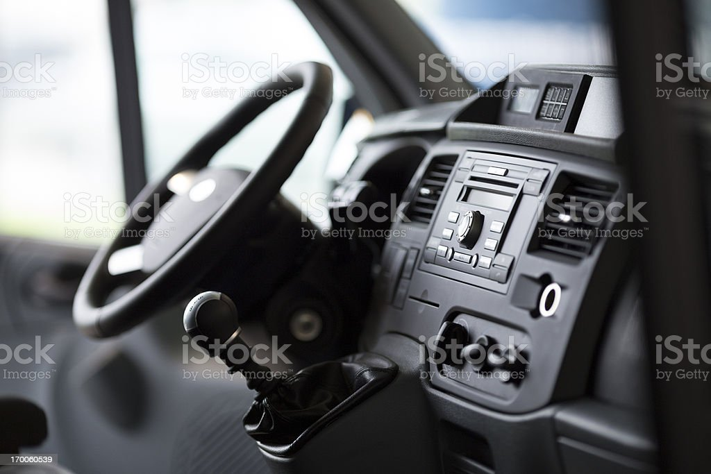 interior photo of a new van from the passenger angle stock photo