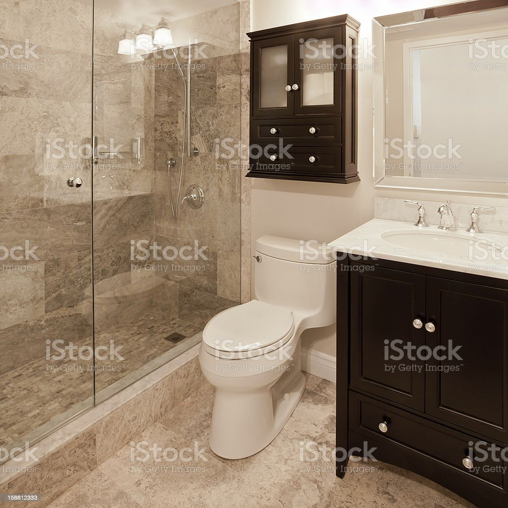 Interior photo of modern bathroom with walk in shower stock photo