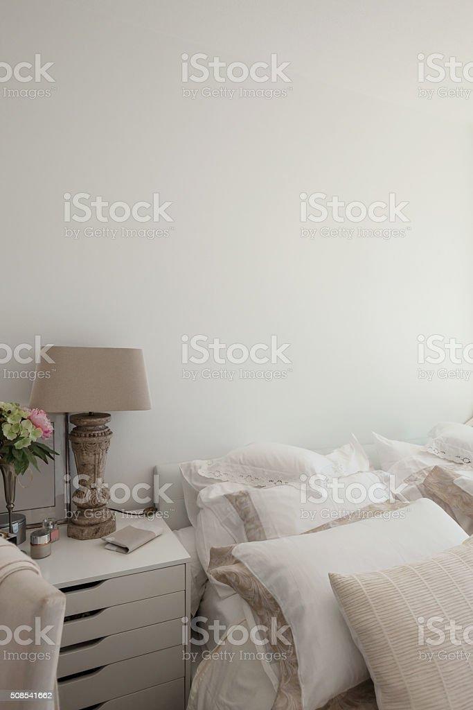 Interior, pillows of a bed comfortable stock photo