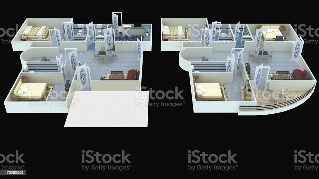 Interior plan 37 for home ground floor and first floor stock photo