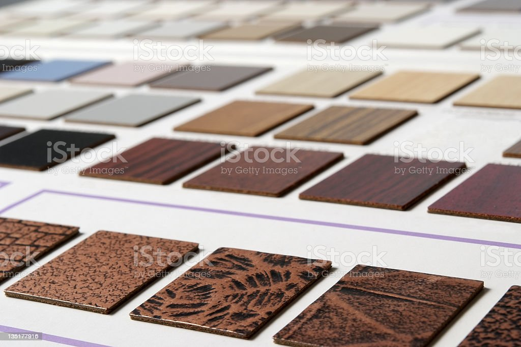 Interior plans and decorating samples with shallow depth of field royalty-free stock photo