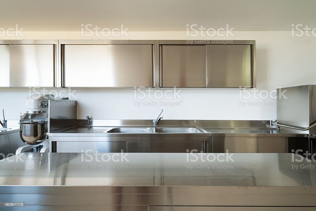 interior, professional kitchen stock photo