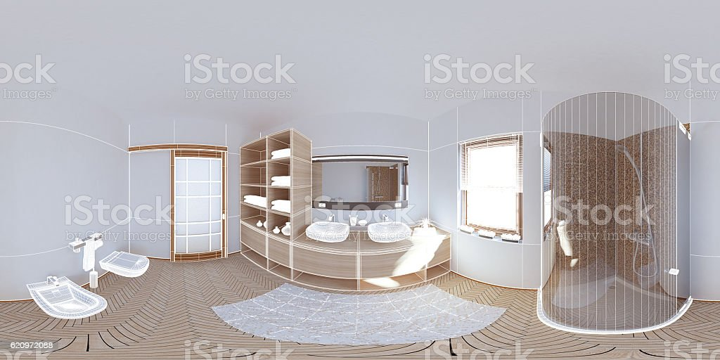 3D interior rendering a modern bathroom stock photo