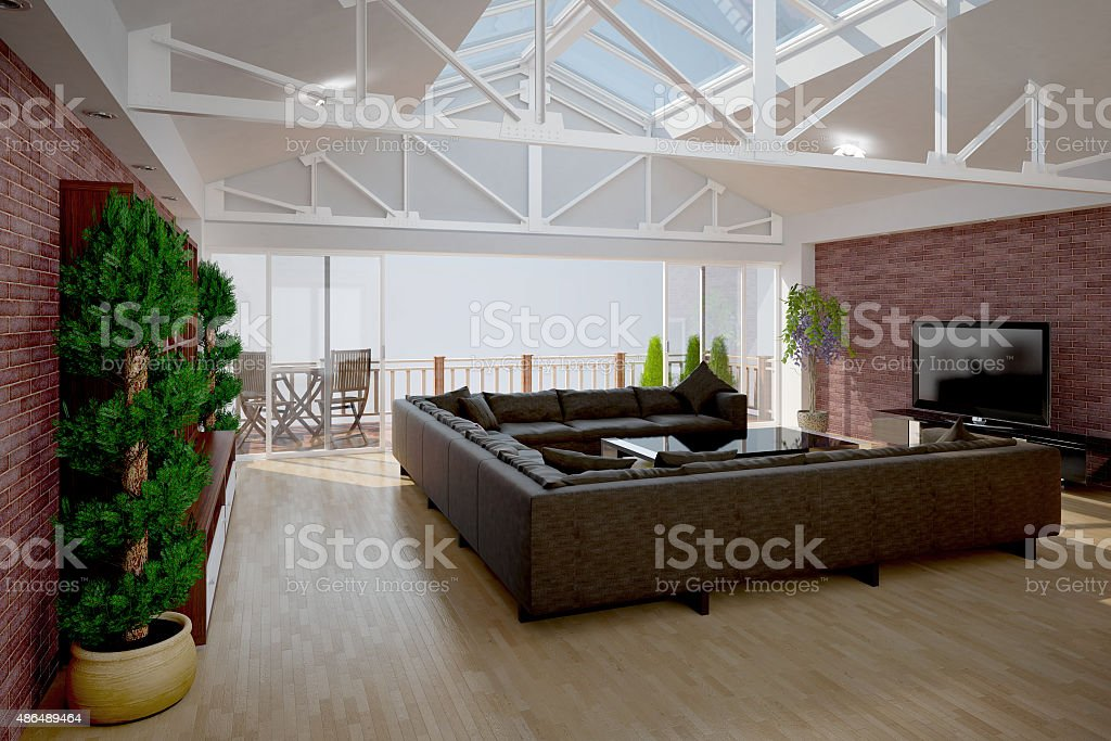 3D interior rendering of a living room stock photo