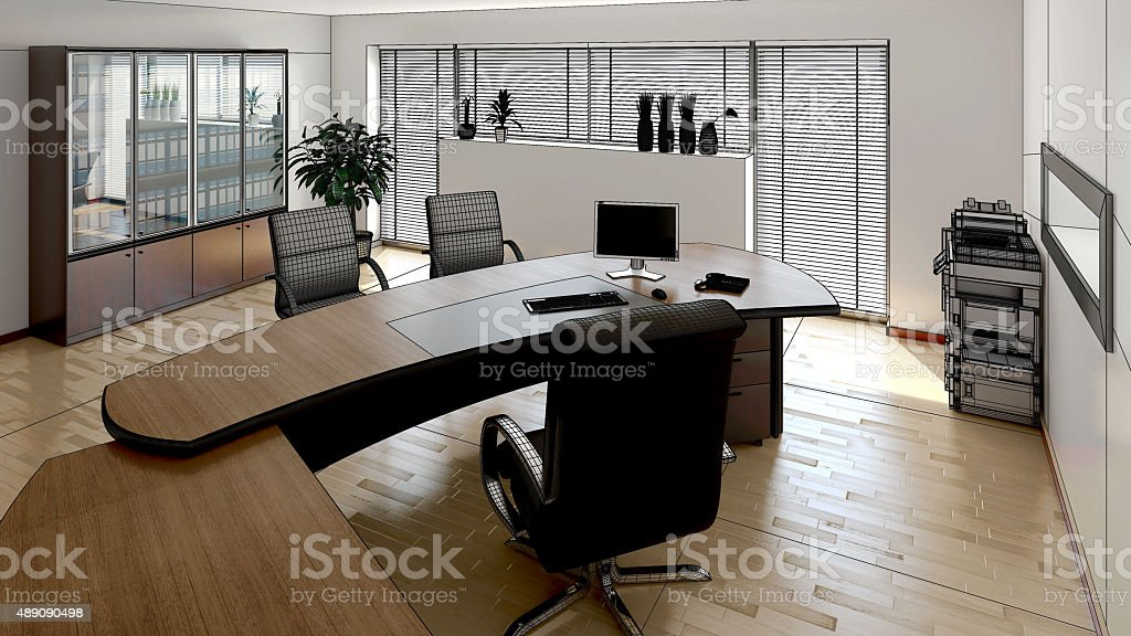 3D interior rendering of a modern office stock photo