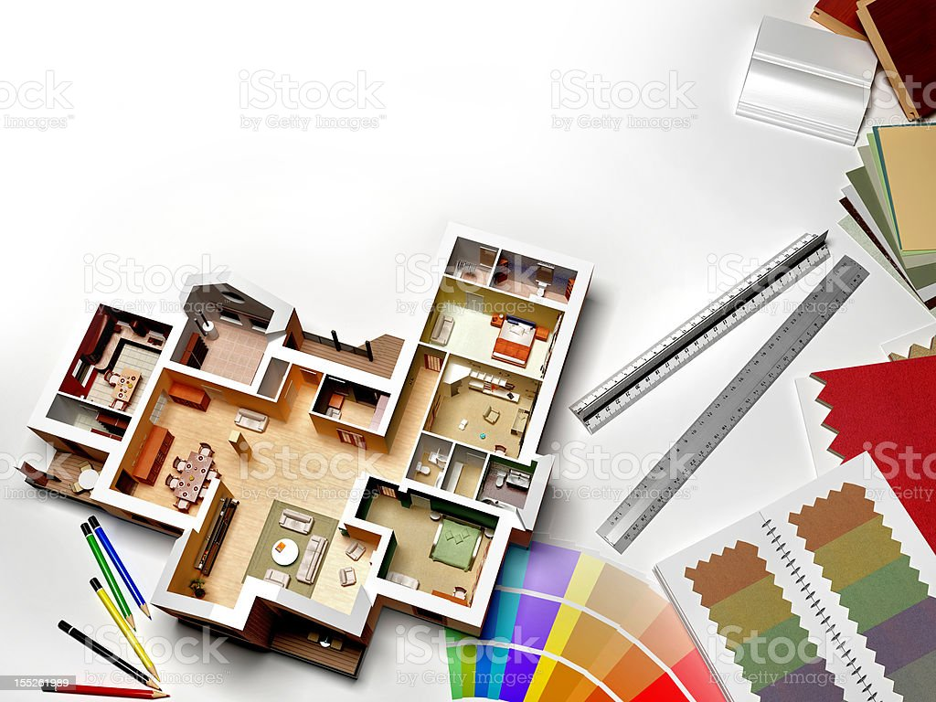 Interior rendering with samples and swatches stock photo