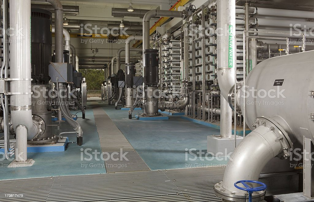Interior Reverse Osmosis Water Purification Plant royalty-free stock photo