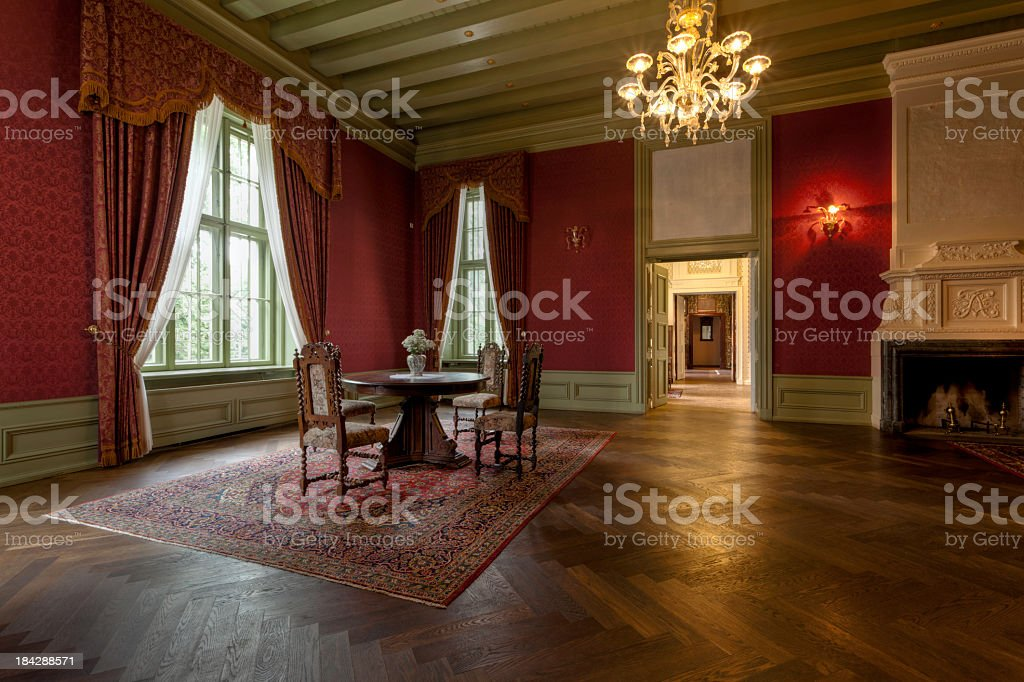 Interior room of an old manor house stock photo