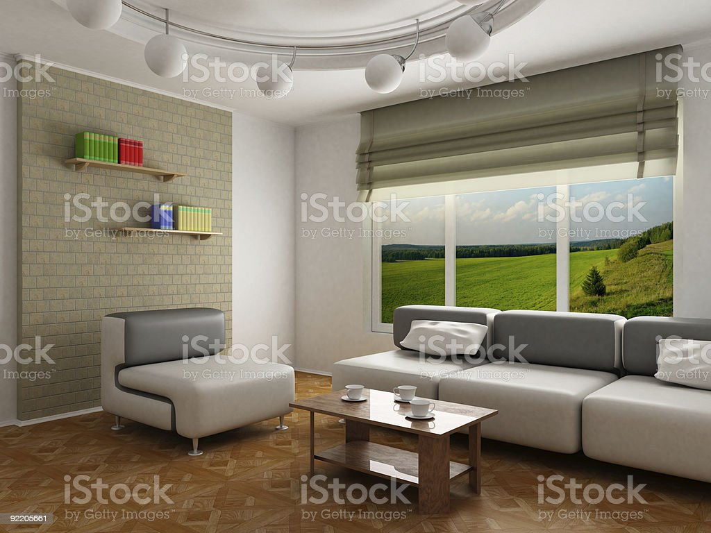 Interior room of rest. 3D image royalty-free stock photo