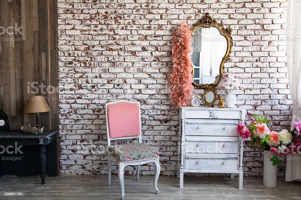 Interior room with a brick wall stock photo