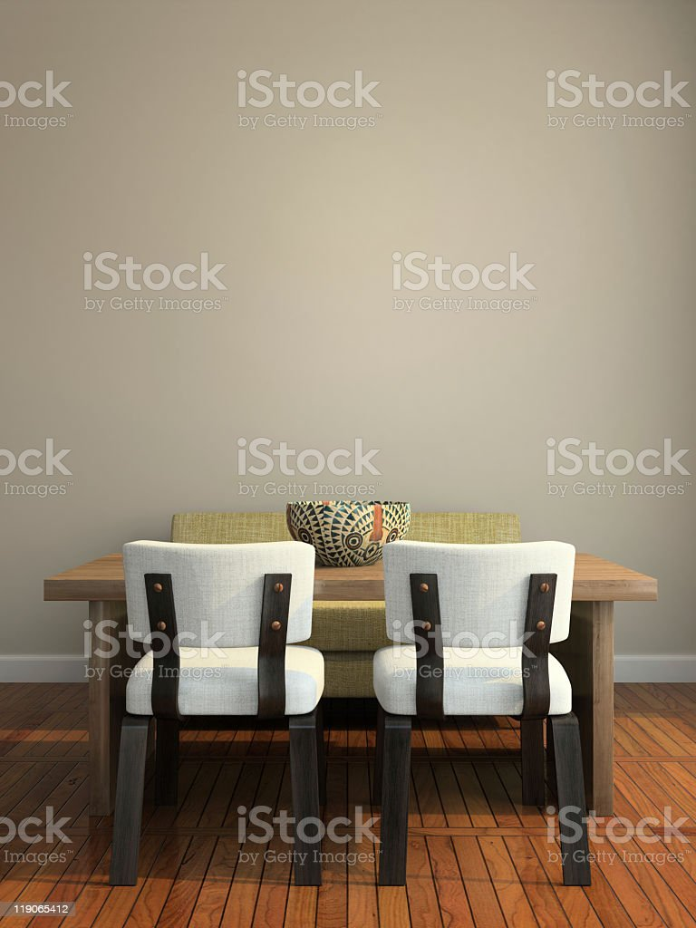 Interior room with modern table and chairs stock photo