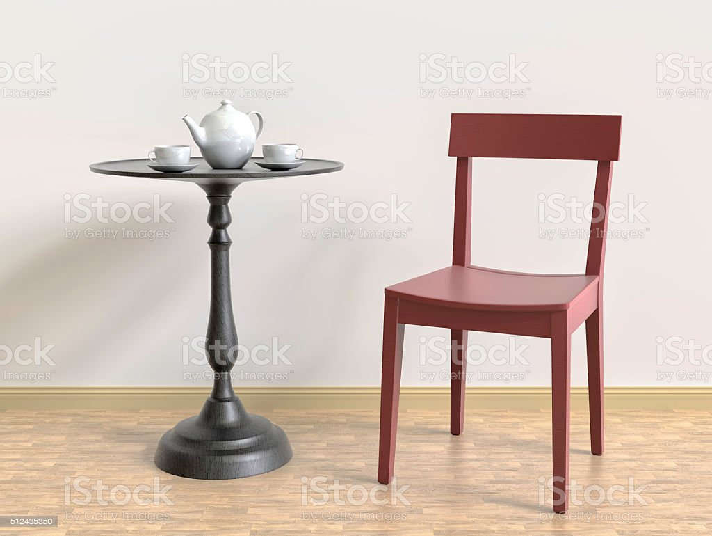 Interior room with red chair, black table and cups,3D stock photo